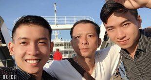 Nguyễn Tôn Quốc Tín cùng MC Lê Đức và Nguyễn Văn Thuận.