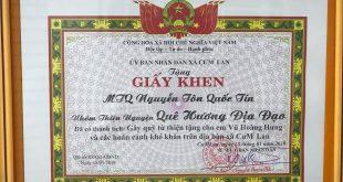 Giấy khen thưởng Nguyễn Tôn Quốc Tín trong chương trình thiện nguyện tỉnh ĐakLak